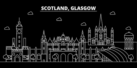 Glasgow silhouette skyline. Scotland - Glasgow vector city, scottish linear architecture, buildings. Glasgow line travel illustration, landmarks. Scotland flat icon, scottish outline design banner