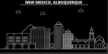 Albuquerque silhouette skyline. USA - Albuquerque vector city, american linear architecture, buildings. Albuquerque travel illustration, outline landmarks. USA flat icon, american line design banner  イラスト・ベクター素材