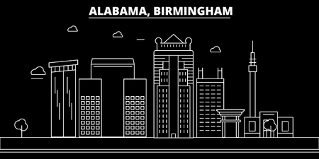 Birmingham silhouette skyline. USA - Birmingham vector city, american linear architecture, buildings. Birmingham line travel illustration, landmarks. USA flat icon, american outline design banner