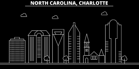 Charlotte silhouette skyline. USA - Charlotte vector city, american linear architecture, buildings. Charlotte line travel illustration, landmarks. USA flat icon, american outline design banner
