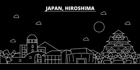 Hiroshima silhouette skyline. Japan - Hiroshima vector city, japanese linear architecture, buildings. Hiroshima travel illustration, outline landmarks. Japan flat icon, japanese line design banner Stock Illustratie