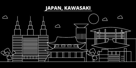 Kawasaki silhouette skyline. Japan - Kawasaki vector city, japanese linear architecture, buildings. Kawasaki travel illustration, outline landmarks. Japan flat icon, japanese line design banner Stock Illustratie