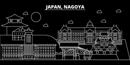 Nagoya silhouette skyline. Japan - Nagoya vector city, japanese linear architecture, buildings. Nagoya travel illustration, outline landmarks. Japan flat icon, japanese line design banner Stock Illustratie