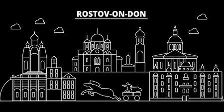 Rostov-on-Don silhouette skyline. Russia - Rostov-on-Don city, russian linear architecture, buildings. Rostov-on-Don travel illustration, outline landmarks. Russia flat icon, russian line design banner