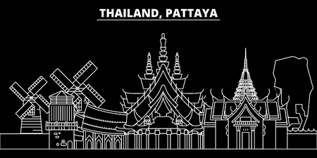 Pattaya silhouette skyline. Thailand - Pattaya vector city, thai linear architecture, buildings. Pattaya travel illustration, outline landmarks. Thailand flat icon, thai line design banner