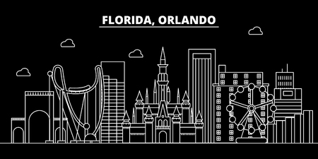 Orlando silhouette skyline. USA - Orlando vector city, american linear architecture, buildings. Orlando line travel illustration, landmarks. USA flat icon, american outline design banner