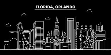 Orlando silhouette skyline. USA - Orlando vector city, american linear architecture, buildings. Orlando line travel illustration, landmarks. USA flat icon, american outline design banner