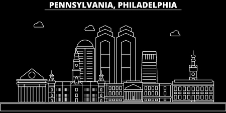 Philadelphia silhouette skyline. USA - Philadelphia vector city, american linear architecture, buildings. Philadelphia line travel illustration, landmarks. USA flat icon, american outline design banner Иллюстрация