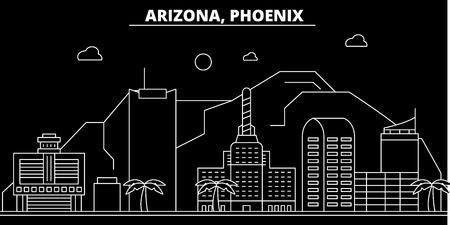 Phoenix silhouette skyline. USA - Phoenix vector city, american linear architecture, buildings. Phoenix line travel illustration, landmarks. USA flat icon, american outline design banner