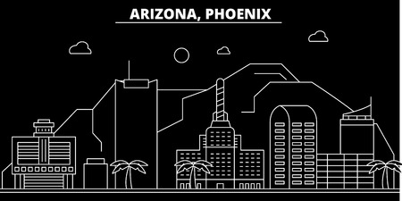 Phoenix silhouette skyline. USA - Phoenix vector city, american linear architecture, buildings. Phoenix line travel illustration, landmarks. USA flat icon, american outline design banner