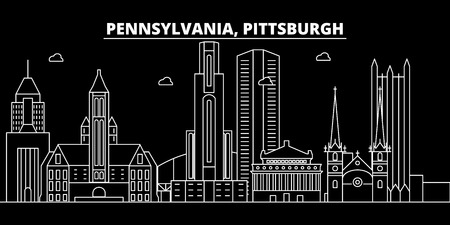 Pittsburgh silhouette skyline. USA - Pittsburgh vector city, american linear architecture, buildings. Pittsburgh line travel illustration, landmarks. USA flat icon, american outline design banner