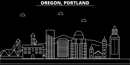 Portland city silhouette skyline. USA - Portland city vector city, american linear architecture, buildings. Portland city line travel illustration, landmarks. USA flat icon, american outline design banner Illustration