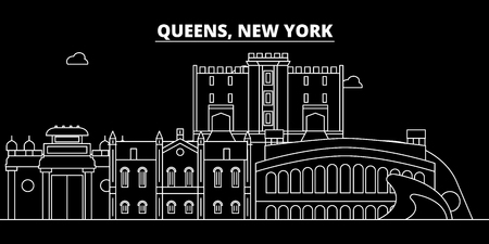 Queens silhouette skyline. USA - Queens vector city, american linear architecture, buildings. Queens line travel illustration, landmarks. USA flat icon, american outline design banner Illustration