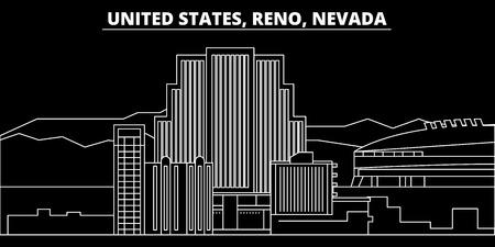 Reno, Nevada silhouette skyline. Usa - Reno, Nevada vector city, american linear architecture, buildings. Reno, Nevada line travel illustration, landmarks. Usa flat icon, american outline design banner