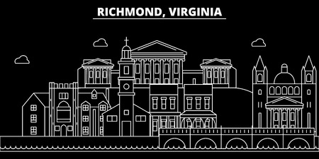 Richmond silhouette skyline. USA - Richmond vector city, american linear architecture, buildings. Richmond line travel illustration, landmarks. USA flat icon, american outline design banner Illustration