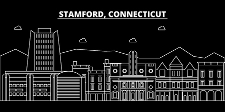 Stamford silhouette skyline. USA - Stamford vector city, american linear architecture, buildings. Stamford line travel illustration, landmarks. USA flat icon, american outline design banner Illustration