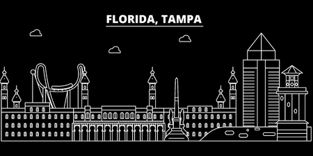 Tampa silhouette skyline. USA - Tampa vector city, american linear architecture, buildings. Tampa line travel illustration, landmarks. USA flat icon, american outline design banner
