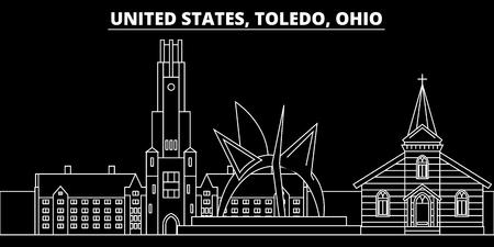 Toledo silhouette skyline. USA - Toledo vector city, american linear architecture, buildings. Toledo line travel illustration, landmarks. USA flat icon, american outline design banner Illustration