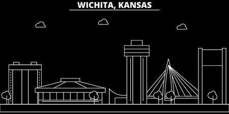 Wichita silhouette skyline. USA - Wichita vector city, american linear architecture, buildings. Wichita line travel illustration, landmarks. USA flat icon, american outline design banner