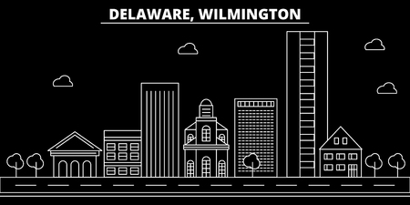 Wilmington silhouette skyline. USA - Wilmington vector city, american linear architecture, buildings. Wilmington line travel illustration, landmarks. USA flat icon, american outline design banner