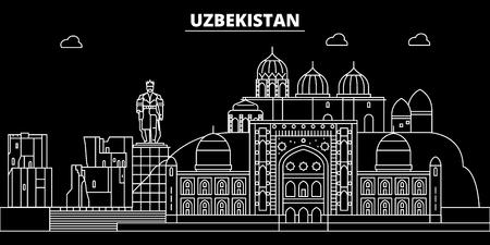 Uzbekistan silhouette skyline, Uzbekistan vector city, uzbek linear architecture, buildingline travel illustration, landmarkflat icon, uzbek outline design, banner Illustration