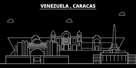 Caracas silhouette skyline. Venezuela - Caracas vector city, venezuelan linear architecture, buildings. Caracas line travel illustration, landmarks. Venezuela flat icon, venezuelan outline design banner Illustration