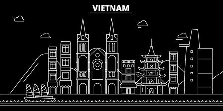 ベトナムシルエットスカイライン。ベトナムベクターシティ、ベトナムの線形建築、建築ライン旅行のイラスト、ランドマークフラットアイコン、