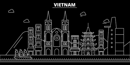 Vietnam silhouette skyline. Vietnam vector city, vietnamese linear architecture, buildingline travel illustration, landmarkflat icon, vietnamese outline design, banner Stock Illustratie