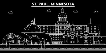 St. Paul silhouette skyline. USA - St. Paul vector city, american linear architecture, buildings. St. Paul line travel illustration, landmarks. USA flat icon, american outline design banner