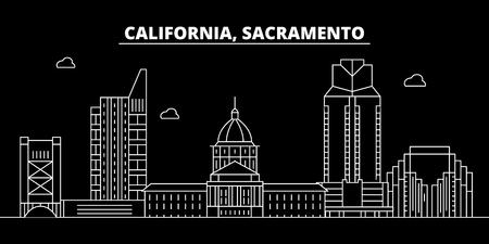 Sacramento silhouette skyline. USA - Sacramento vector city, american linear architecture, buildings. Sacramento line travel illustration, landmarks. USA flat icon, american outline design banner