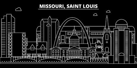 Saint Louis silhouette skyline. USA - Saint Louis vector city, american linear architecture, buildings. Saint Louis line travel illustration, landmarks. USA flat icon, american outline design banner Illustration