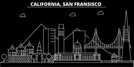 San Francisco silhouette skyline. USA - San Francisco vector city, american linear architecture, buildings. San Francisco line travel illustration, landmarks. USA flat icon, american outline design banner Vectores