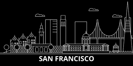 San Francisco city silhouette skyline. USA - San Francisco city vector city, american linear architecture, buildings. San Francisco city line travel illustration, landmarks. USA flat icon, american outline design banner Archivio Fotografico - 102161520