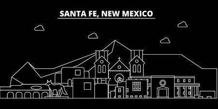Santa Fe silhouette skyline. USA - Santa Fe vector city, american linear architecture, buildings. Santa Fe line travel illustration, landmarks. USA flat icon, american outline design banner
