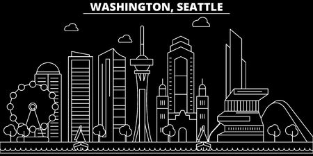 Seattle silhouette skyline. USA - Seattle vector city, american linear architecture, buildings. Seattle line travel illustration, landmarks. USA flat icon, american outline design banner
