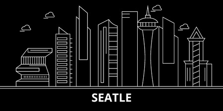 Seattle city silhouette skyline. USA - Seattle city vector city, american linear architecture, buildings. Seattle city line travel illustration, landmarks. USA flat icon, american outline design banner