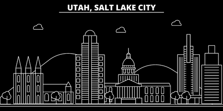 Salt Lake City silhouette skyline. USA - Salt Lake City vector city, american linear architecture, buildings. Salt Lake City line travel illustration, landmarks. USA flat icon, american outline design