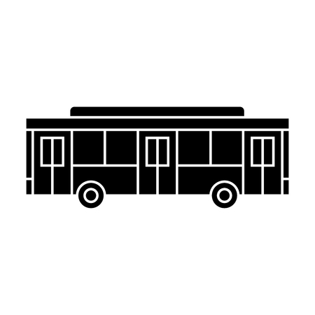 Bus black icon, vector illustration. Bus  concept sign Ilustracja