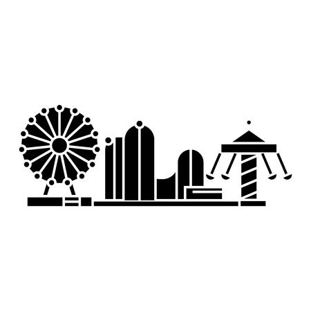 Amusement park black icon, vector illustration. Amusement park  concept sign.