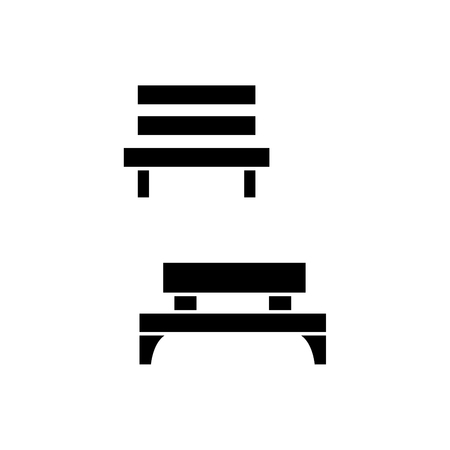 Park bench black icon, vector illustration. Park bench  concept sign.