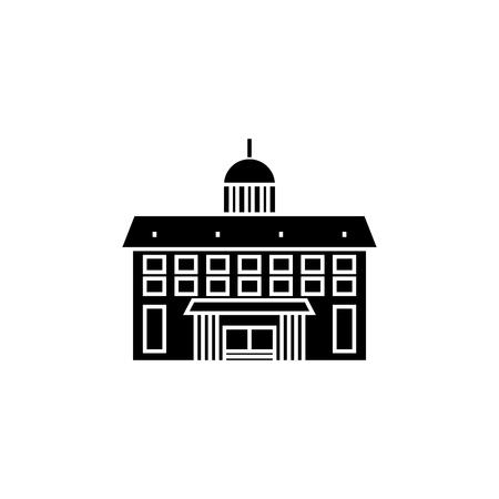Administrative building black icon, vector illustration. Administrative building  concept sign.