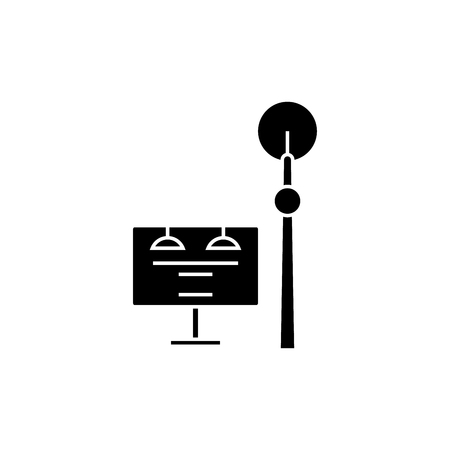 Communication tower black icon, vector illustration. Communication tower  concept sign. Illustration