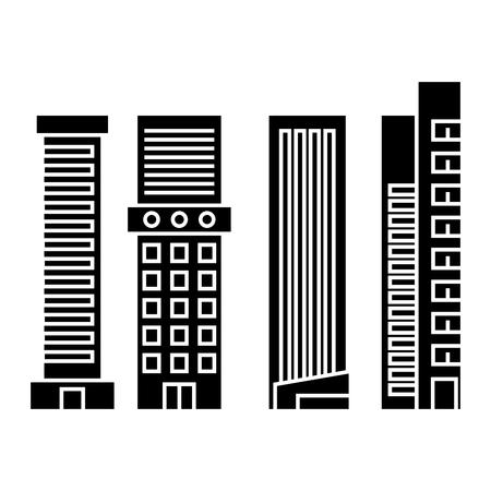 Skyscraper black icon, vector illustration. Skyscraper  concept sign