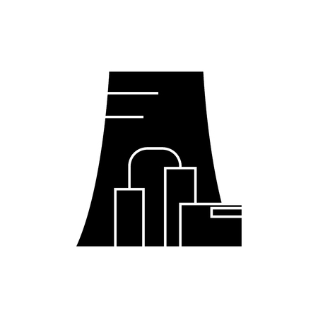 Thermal power plant black icon, vector illustration. Thermal power plant  concept sign. Standard-Bild - 103366446