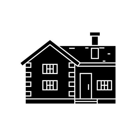 Village cottage black icon, vector illustration. Village cottage  concept sign.