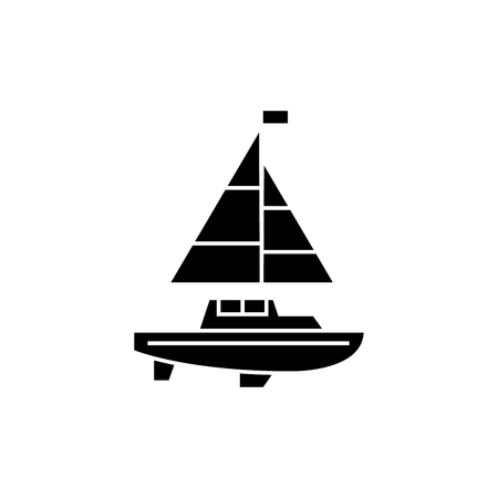 Sailing yacht black icon, vector illustration. Sailing yacht  concept sign.