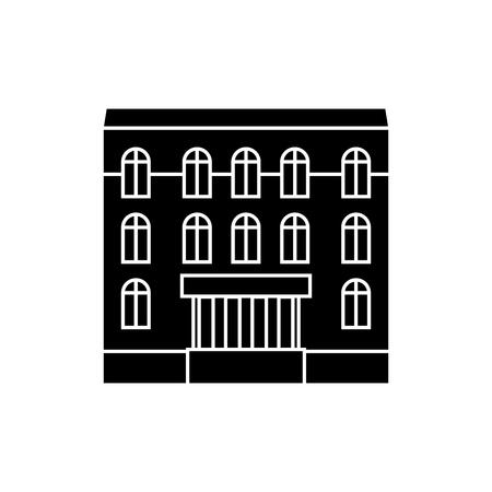 Dwelling house black icon, vector illustration. Dwelling house  concept sign. Illustration