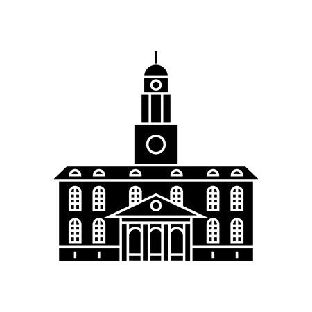 University building black icon, vector illustration. University building  concept sign.