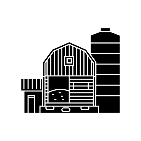 Farm black icon, vector illustration. Farm  concept sign Stock Illustratie
