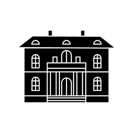 Cute villa black icon, vector illustration. Cute villa  concept sign. Иллюстрация